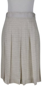 Brooks Brothers Vintage Pleated Irish Linen Linen A-line Skirt Beige
