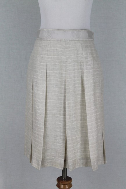 Brooks Brothers Vintage Pleated Irish Linen Linen A-line Skirt Beige Image 1