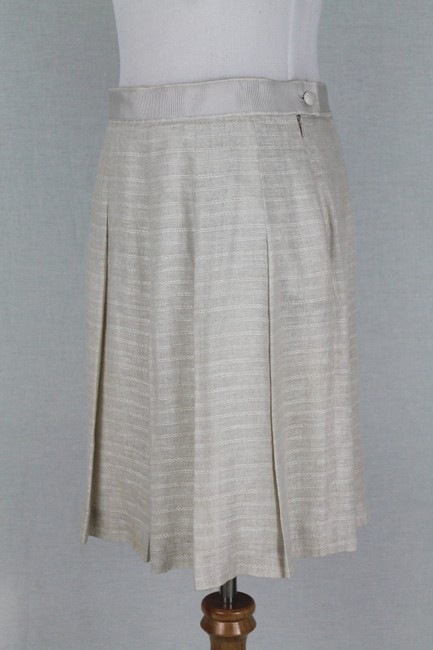 Brooks Brothers Vintage Pleated Irish Linen Linen A-line Skirt Beige Image 2