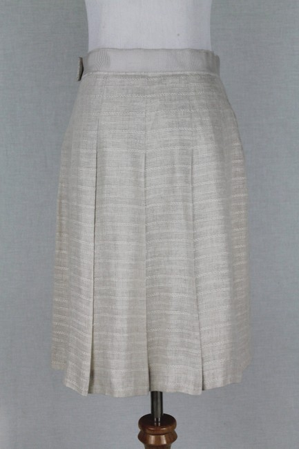 Brooks Brothers Vintage Pleated Irish Linen Linen A-line Skirt Beige Image 4