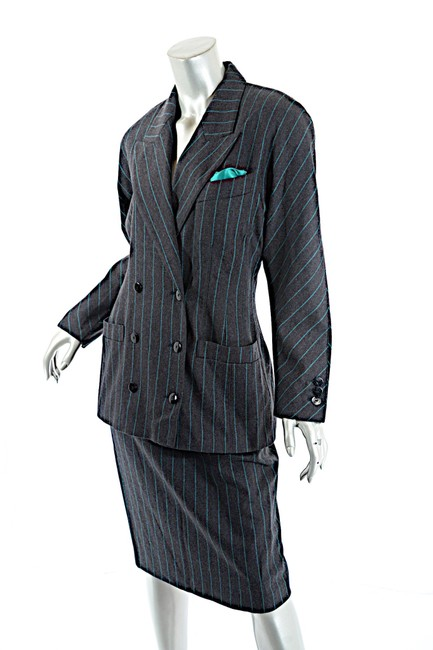 Escada ESCADA Vintage Charcoal Green Wool Blend Striped DB Skirt Suit 8/10 Image 1
