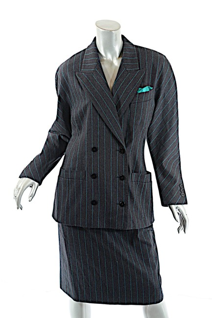 Escada ESCADA Vintage Charcoal Green Wool Blend Striped DB Skirt Suit 8/10 Image 2