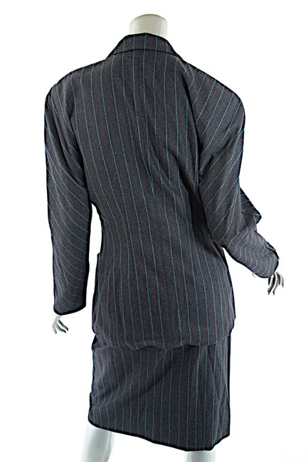 Escada ESCADA Vintage Charcoal Green Wool Blend Striped DB Skirt Suit 8/10 Image 3