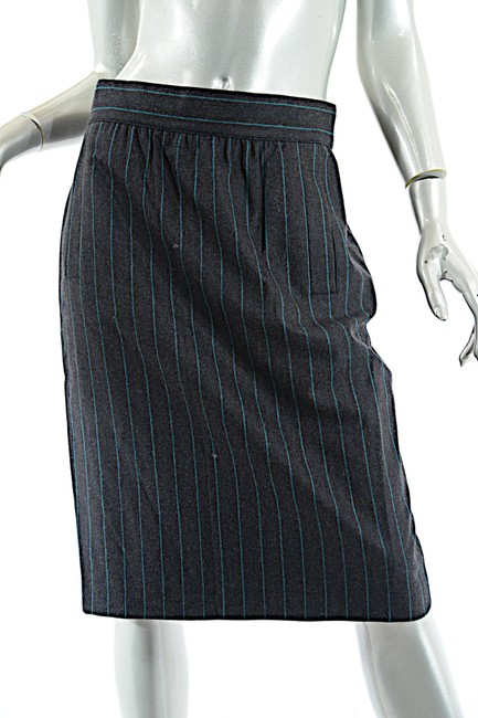 Escada ESCADA Vintage Charcoal Green Wool Blend Striped DB Skirt Suit 8/10 Image 4