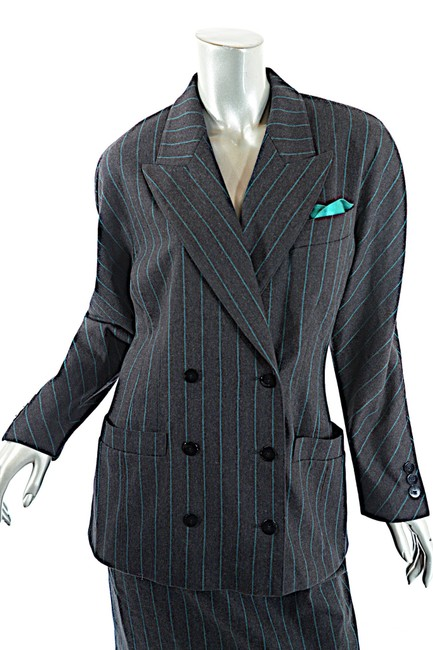 Escada ESCADA Vintage Charcoal Green Wool Blend Striped DB Skirt Suit 8/10 Image 5