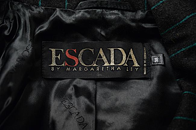 Escada ESCADA Vintage Charcoal Green Wool Blend Striped DB Skirt Suit 8/10 Image 7