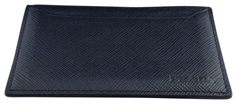 50d97799a9b8 Prada Blue Baltico Saffiano Men's Leather Card Holder 2mc208 Wallet ...