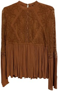 American Eagle Lace Peplum Top Brown