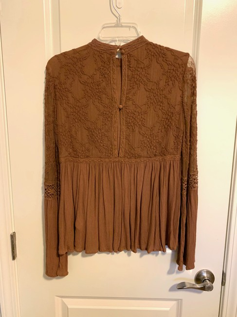 American Eagle Lace Peplum Top Brown Image 1