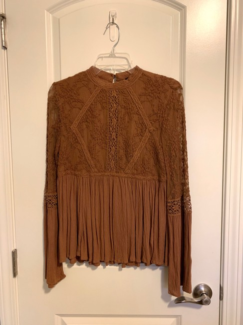 American Eagle Lace Peplum Top Brown Image 2