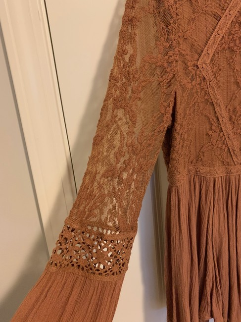 American Eagle Lace Peplum Top Brown Image 3