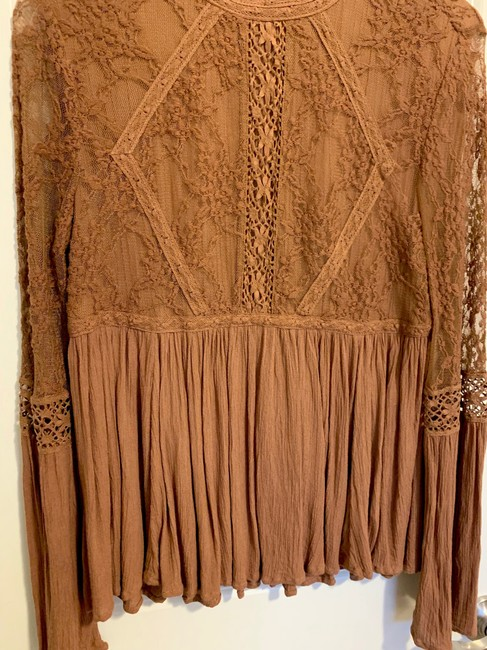 American Eagle Lace Peplum Top Brown Image 4