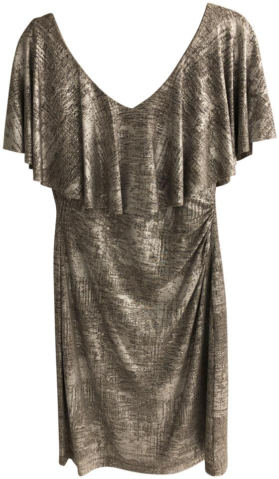 a1758a535a06 Connected Apparel Gold Metallic Mid-length Cocktail Dress Size 8 (M ...
