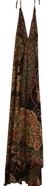 Item - Black Gold Orange and Green Colorful Convertible Long Night Out Dress Size OS (one size)