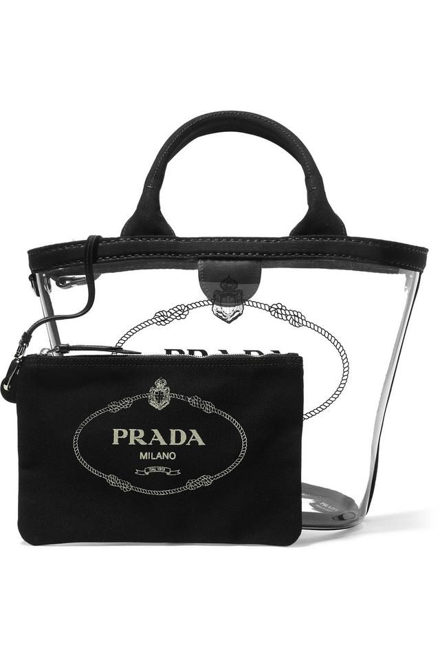 1cc168f99600 Prada Bag Logo Printed Canvas Trimmed Pvc Clear Tote - Tradesy