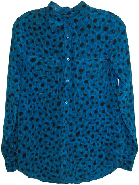 Preload https://img-static.tradesy.com/item/24962329/equipment-blue-with-black-ink-spots-silk-signature-long-sleeve-blouse-size-2-xs-0-1-650-650.jpg