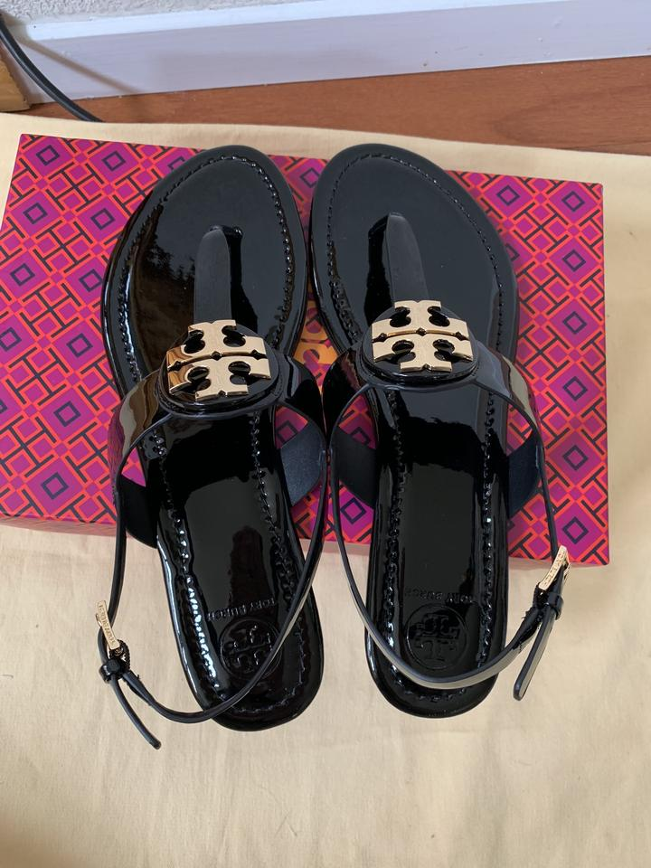 00961cc927f Tory Burch Black Bryce Flat Thong In Patent Leather Sandals Size US ...