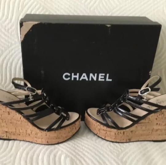 Chanel Black and Silver Platforms Image 4