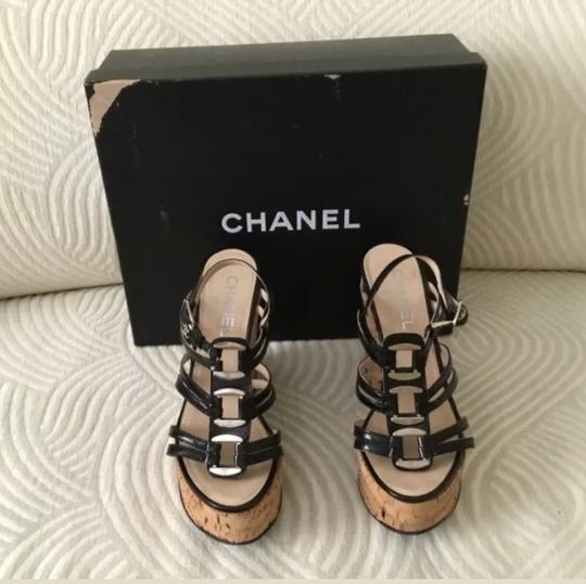 Chanel Black and Silver Platforms Image 6