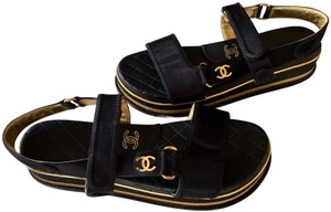 Chanel Strappy Quilted Gladiator Cruise Collection Platform black Sandals