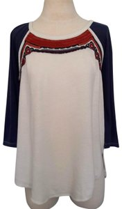 Free People T Shirt White and Navy Blue