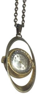 Vintage Vintage gold plated clock watch pendant necklace
