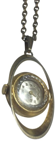 Vintage Vintage gold plated clock watch pendant necklace Image 0