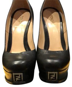 Fendi black with gold Fendi logo Platforms