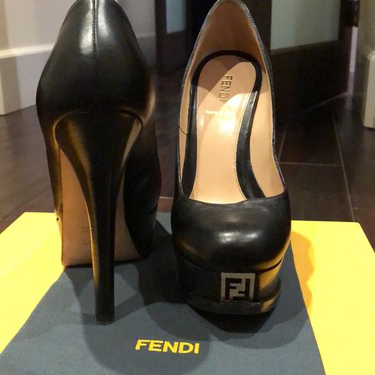 Fendi black with gold Fendi logo Platforms Image 2