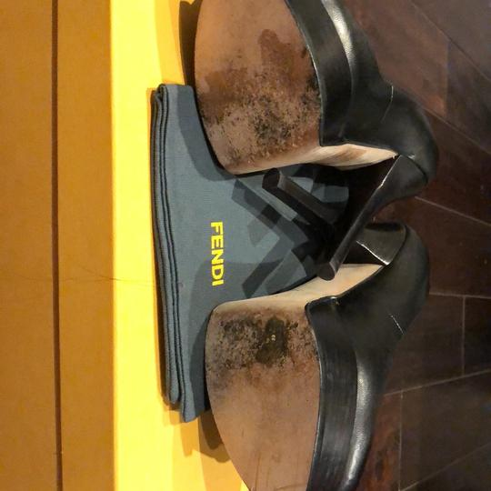 Fendi black with gold Fendi logo Platforms Image 4