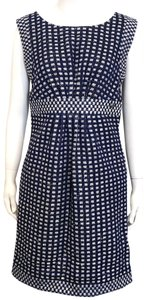 Chanel short dress Navy Blue Tweed Sheath Metallic Gold Sequins on Tradesy