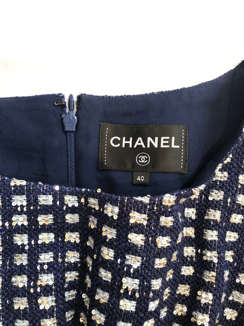 Chanel short dress Navy Blue Tweed Sheath Metallic Gold Sequins on Tradesy Image 1