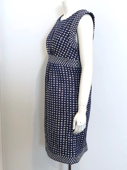 Chanel short dress Navy Blue Tweed Sheath Metallic Gold Sequins on Tradesy Image 2