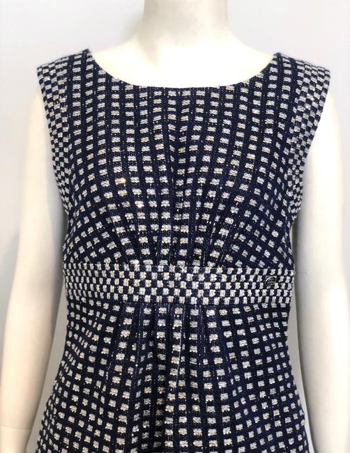 Chanel short dress Navy Blue Tweed Sheath Metallic Gold Sequins on Tradesy Image 3