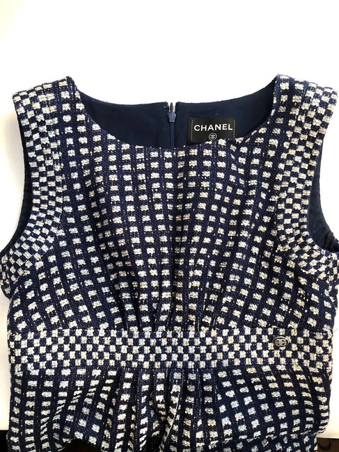 Chanel short dress Navy Blue Tweed Sheath Metallic Gold Sequins on Tradesy Image 7