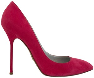 Sergio Rossi Almond Toe Pointed Toe Suede Stiletto Pink Pumps