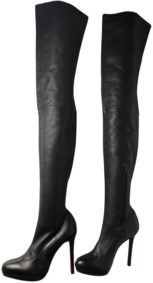 finest selection b0e13 e7a02 Christian Louboutin Black Louise Xi Over Knee Leather Boots/Booties Size EU  38.5 (Approx. US 8.5) Regular (M, B) 47% off retail