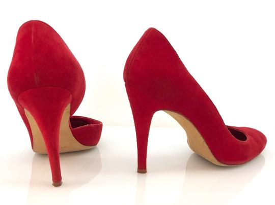 Manolo Blahnik Suede D'orsay Round Toe Red Pumps Image 2
