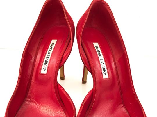 Manolo Blahnik Suede D'orsay Round Toe Red Pumps Image 3