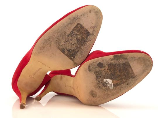 Manolo Blahnik Suede D'orsay Round Toe Red Pumps Image 4