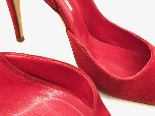 Manolo Blahnik Suede D'orsay Round Toe Red Pumps Image 5