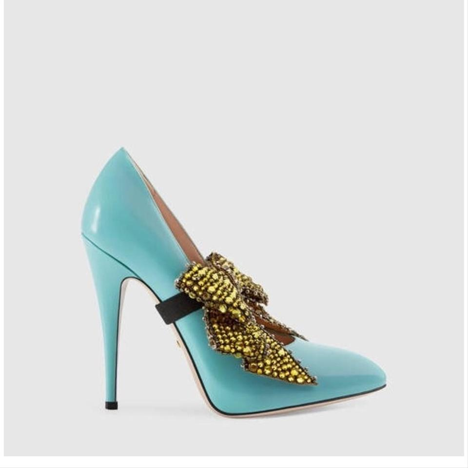 4af5e741a991 Gucci Crystal Bow Removable Leather Pumps Size EU 34.5 (Approx. US ...
