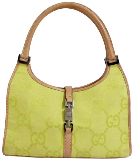 33d56833a49 Gucci Jackie Lime Neon Monogram and Tan Leather Green Canvas Hobo ...
