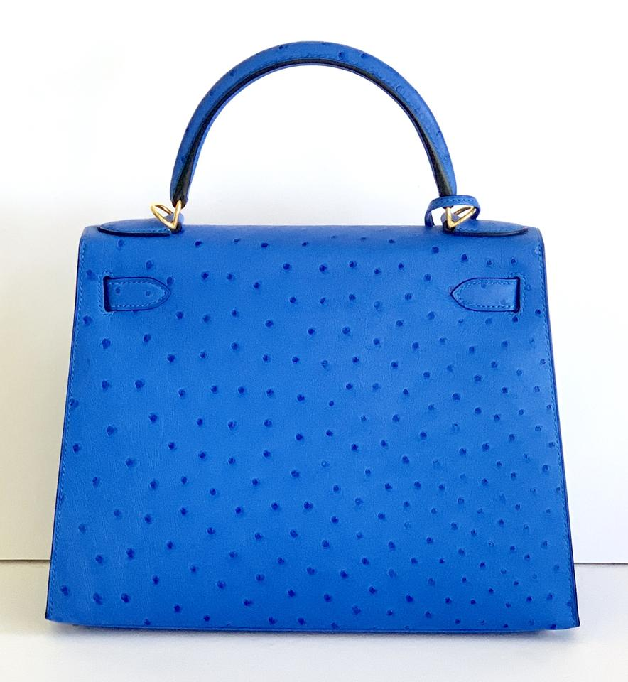 4f3aed725a28 Hermès Kelly 28 Bleuet New Color Gold Hardware 1 Blue Ostrich Shoulder Bag  - Tradesy