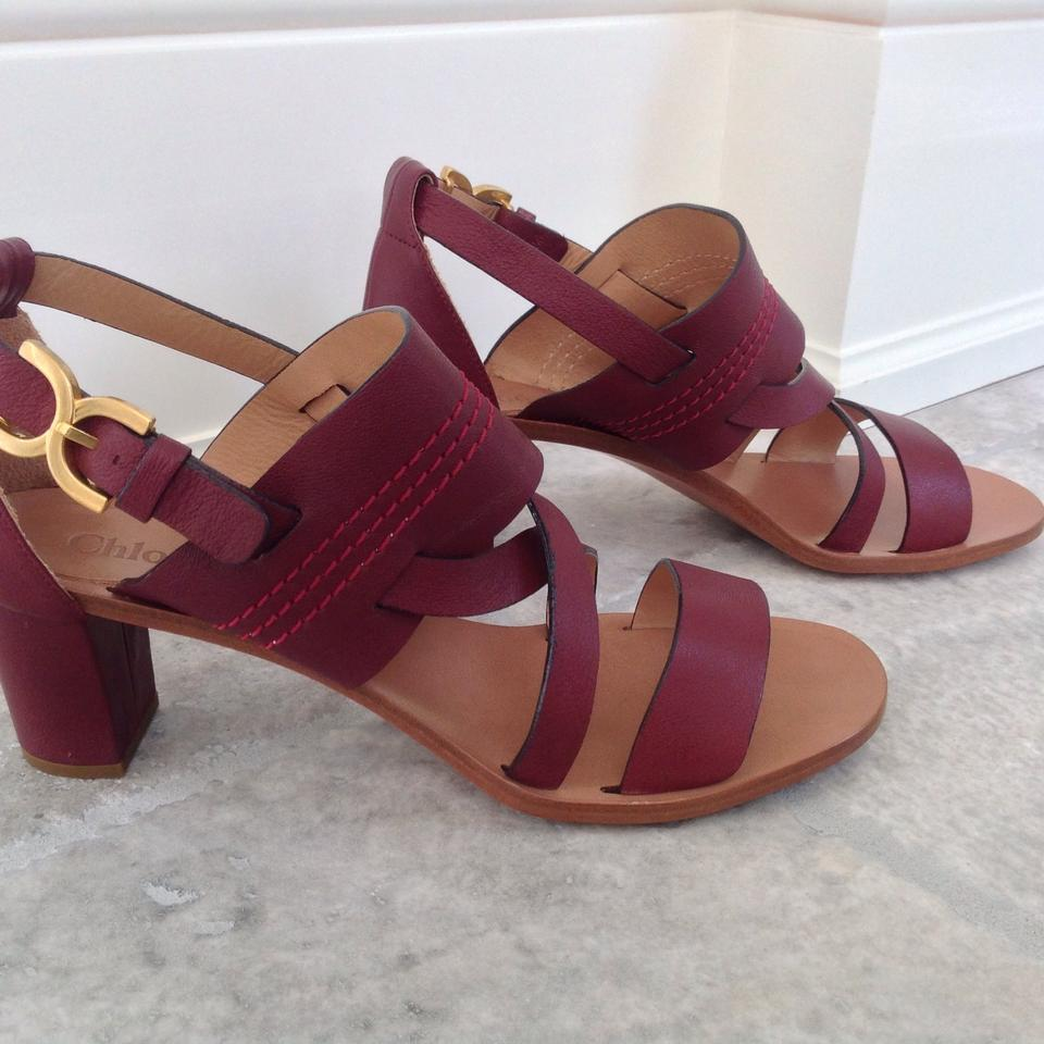 683f53208d0 Chloé Burgundy Soft Leather Strappy Sandals Size EU 40 (Approx. US ...