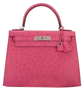 cce12aacc8 Hermès Kelly 28 Rose Tyrien Pink Ostrich Shoulder Bag - Tradesy