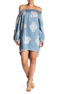 bb69da2d10a One Teaspoon short dress Hartland-Washed Denim Oneteaspoondress Off The  Shoulder Denimmini on Tradesy