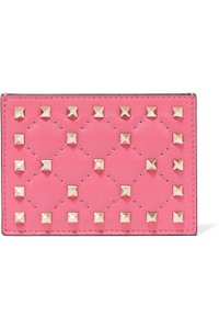 Valentino Rockstud quilted leather card holder coin case