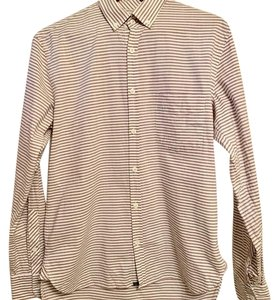 Billy Reid Button Down Shirt off white shirt with burgundy and black stripes