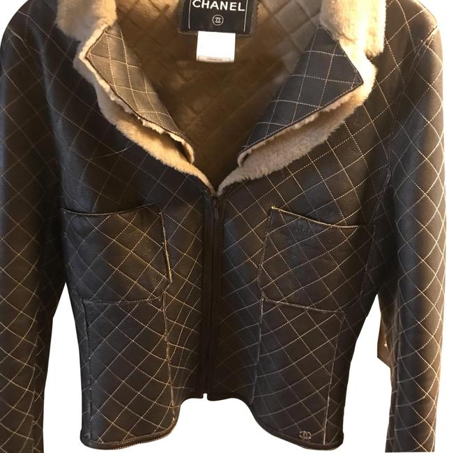 Item - Brown and Cream Shearling Jacket Size 8 (M)